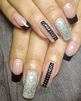Набор для декора ногтей: черные стразы 100 шт. + блеск серебро.