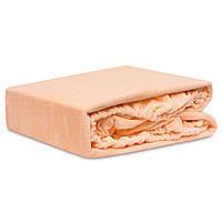Турецкая простинь на резинке двуспальная персикового цвета, фото 1