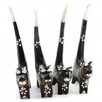 Кошки деревянные кольцедержатели черные (н-р 4 шт)(15,5х5,5х2 см) цена за набор , Статуэтки и фигурки