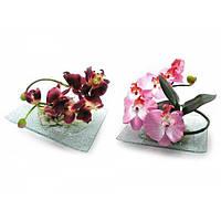 Цветок орхидеи на стеклянной подставке (20х15см) , Искусственные Цветы -30%