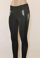 Классные женские лосины с кожаной вставкой сбоку на всю длину БАТАЛ (XL(50),Черный), фото 1