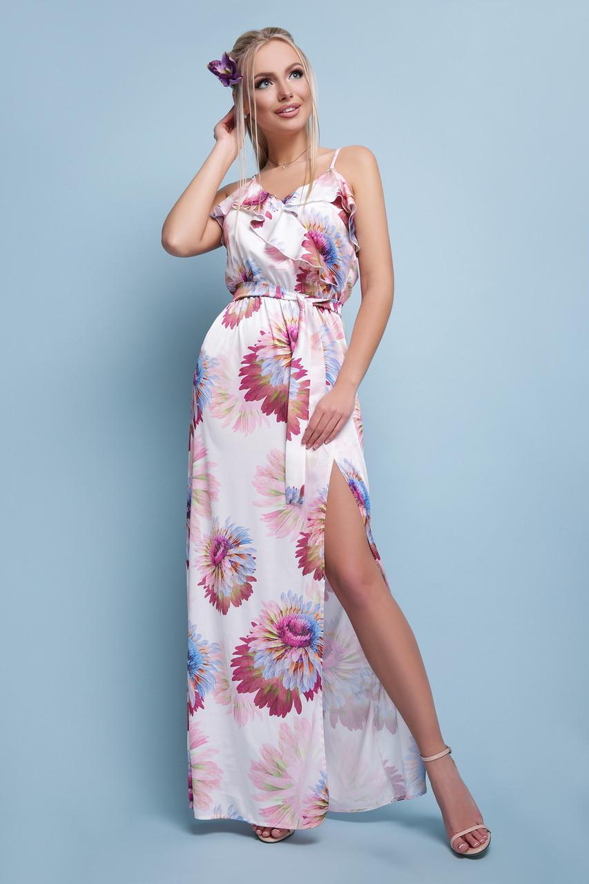 d5bfa6a531f Женское длинное платье сарафан цветочный принт с разрезом 048 - СТИЛЬНАЯ  ДЕВУШКА интернет магазин модной женской