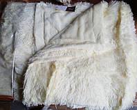 Меховое покрывало - плед с длинным ворсом белого цвета, фото 1