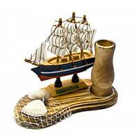 Парусник с подставкой для ручек (14х10,5х7 см) , Морская тематика
