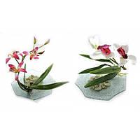 Цветок орхидеи на стеклянной подставке (d-18,5 см) , Искусственные Цветы -30%