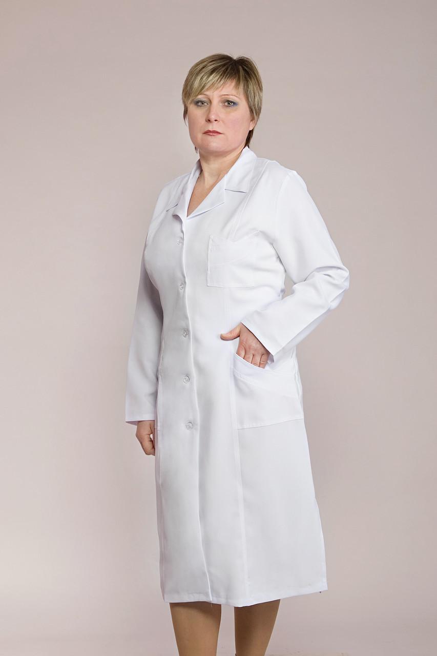 Белый медицинский халат с длинным рукавом