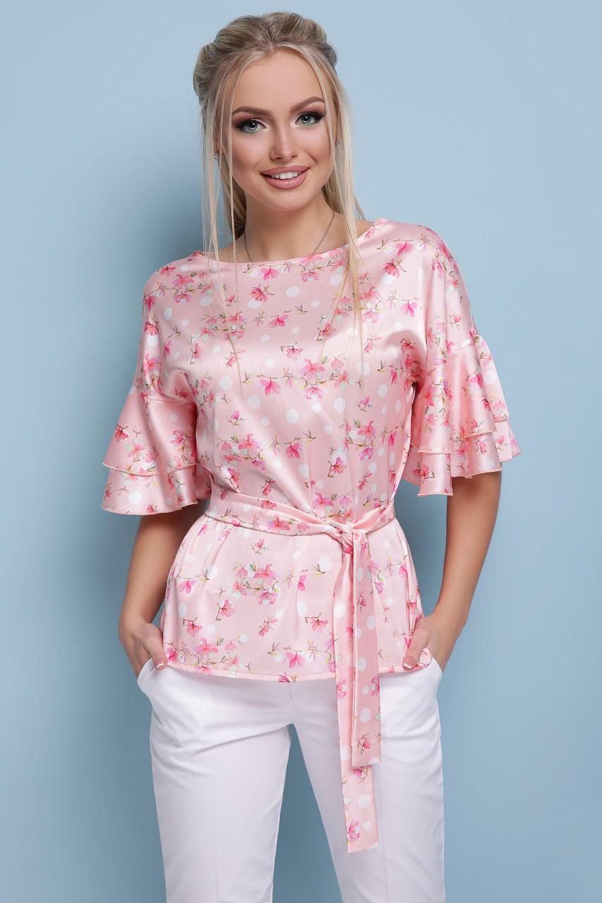 """Красивая блузка с цветами """"Мирабель Персик"""""""