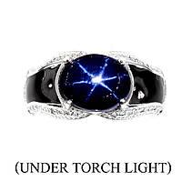 Серебряное кольцо со звездчатым сапфиром 11 мм*9мм