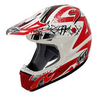 Мотошлем MT MX-1 Graphic Matt White-Red S