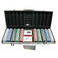 Покерный набор в кейсе (2 колоды карт +500 фишек) (59х25х9 см)(вес фишки 4 гр. d-39 мм) , Игровая коллекция