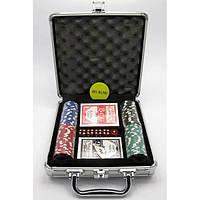Покерный набор в кейсе (2 колоды карт +100 фишек)(23х25х8 см)(вес фишки 4 гр. d-39 мм) , Игровая коллекция