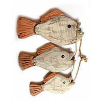 Рыбы связка 3шт дерево(20х11х6,5 см) , Морская тематика