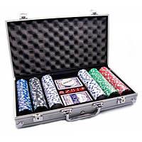 Покерный набор в алюм. кейсе (2 колоды+300фишек)(38х22,5х6,5 см)(вес фишки 4 гр. d-39 мм) , Игровая коллекция
