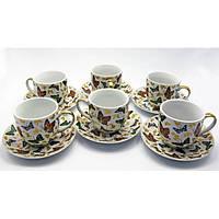 """Сервиз фарфор (170мл)(6HPC1040) 6 чашек +6 блюдец """"Бабочки на белом фоне"""" (h-7см., d-7,5см.) , Посуда"""
