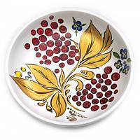 Тарелка белая, расписано вручную, липа (d - 20см.,h - 3см) , Белодеревщики (Наше производство)