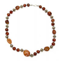 Ожерелье из агата и металла (28 см) , Украшения