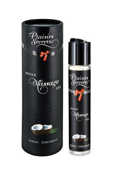 Массажное масло Plaisirs Secrets Coconut (59 мл) с афродизиаками, съедобное, подарочная упаковка