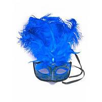 Маска венецианская с перьями синяя (25х16х5 см) , Маски