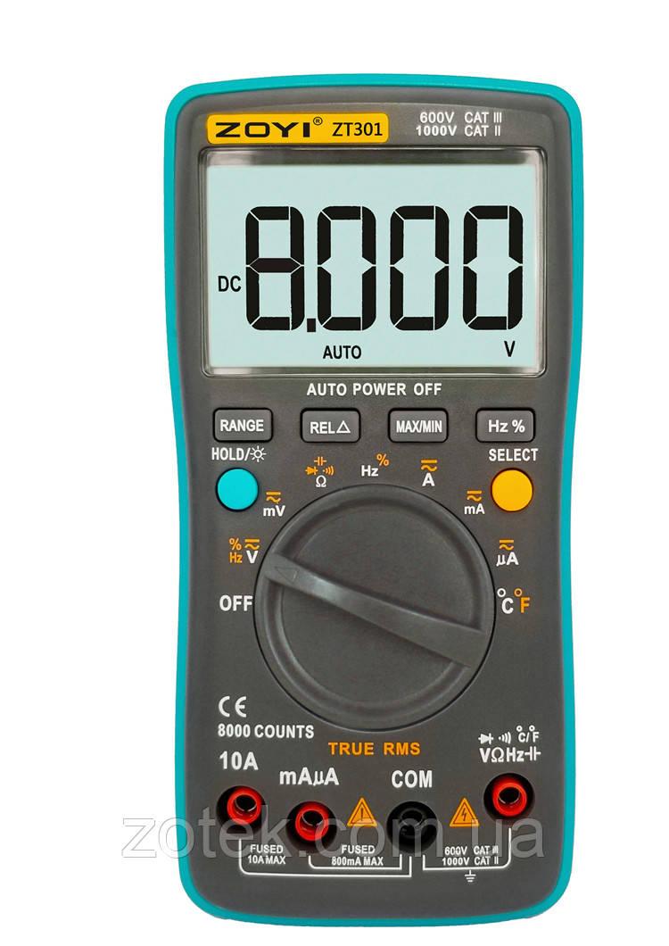 ZOYI ZT301 Захищений Мультиметр з термопарою 8000 відліків True RMS тестер ( RM301 ) ZOTEK