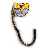 """Сумкодержатель для женской сумочки """"Бабочка-Замок"""" желто-фиолетовый(6,5х4,5х1,5 см) , Подарки для женщин"""