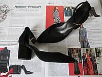 Комфортные туфли Limoda из натуральной замши босоножки на каблуке 6 см черного цвета, фото 1
