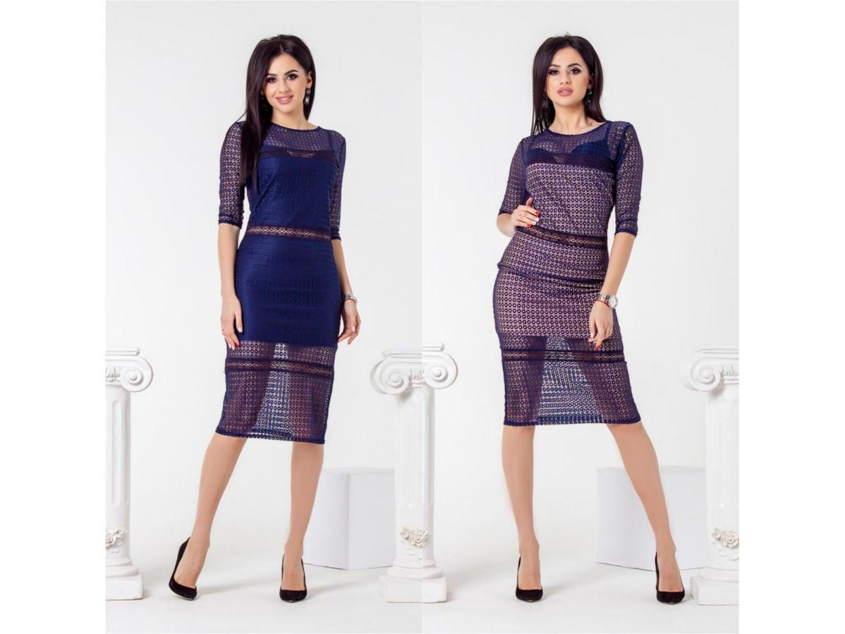 dabf452adf9453c Гипюровое женское платье рукав три четверти 27792 - СТИЛЬНАЯ ДЕВУШКА  интернет магазин модной женской одежды в