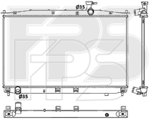 Радиатор охлаждения двигателя Hyundai Santa Fe II (06-09) 2.2 CRDi, МКПП, конд. (HCC)