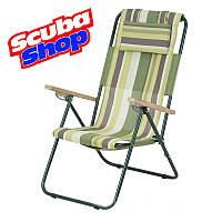 Кресло-шезлонг «Ясень» для рыбалки и туризма (зеленая полоса), фото 1
