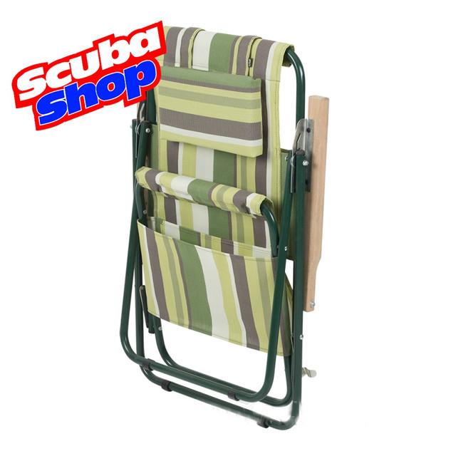 Кресло-шезлонг «Ясень» для рыбалки и туризма (зеленая полоса)
