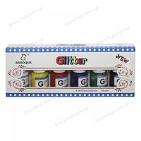 Краски из глиттера для стекла и керамики 6 цветов