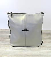 Кожаная женская сумка жемчужно-серого Farfalla Rosso, фото 1