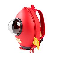 Детский рюкзак SUNROZ Rocket в форме ракеты с иллюминатором 23х15,5х30см Красный (SUN0734), фото 1