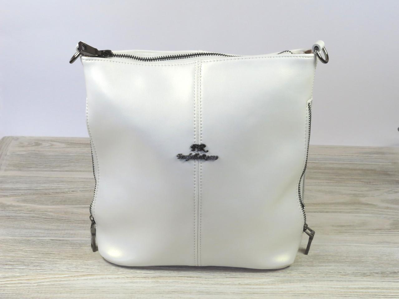 Кожаная женская сумка белого Farfalla Rosso