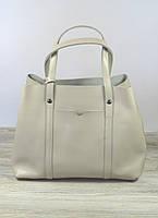 Женская сумка торба бежевого цвета с ручками, фото 1