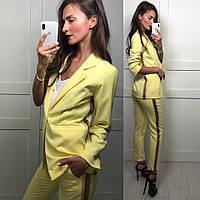 Костюм женскиймодный пиджак на подкладке и брюки с завышенной талией Dld955