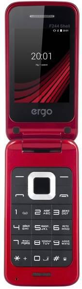 Кнопочный телефон раскладушка на 2 сим карты с фонариком ERGO F244 Shell красный