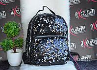Черный блестящий рюкзак в паетках., фото 1