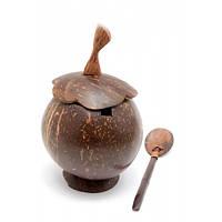 Чашка с ложкой и крышкой из кокоса (15,5х9х9 см) , Посуда
