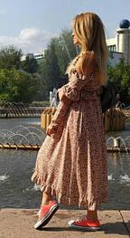 Женское платье миди с рюшами, цвета капучино