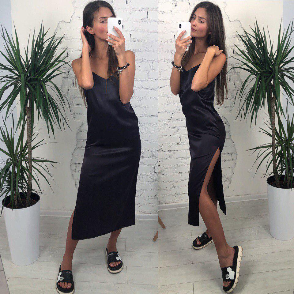 Хит продаж! Женское летнее шелковое платье Лолита на брительках, чёрное