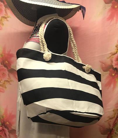 Пляжная объемная сумка с овальным дном в полоску, фото 2