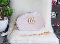 Велюровая сумочка в стиле Гуччи 2 в 1 пудра., фото 1