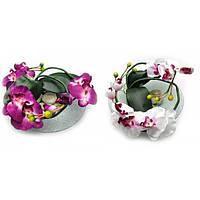 Цветок орхидеи на стеклянной подставке (d-26 см) , Искусственные Цветы -30%