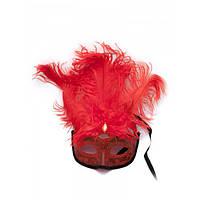 Маска венецианская с перьями красная (25х16х5 см) , Маски