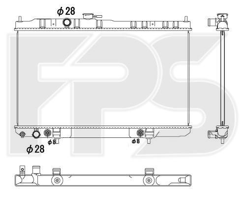 Радиатор охлаждения двигателя Nissan Almera Classic (06-13) 1.6 АКПП, конд. (FPS)