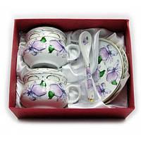 "Сервиз фарфор (190мл.)(2GBC-A1093SP) 2чашки+2блюдца+2ложки ""Цветы на белом фоне"" (h-6см.,d-7см.) , Посуда"