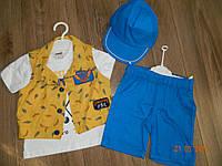 Летний костюм для мальчика с кепкой на 1,2,3,4 года