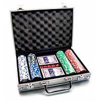 Покерный набор в алюминиевом кейсе (2 колоды+200 фишек)(30х22х7см)(вес фишки 4 гр. d-39 мм) , Игровая коллекция