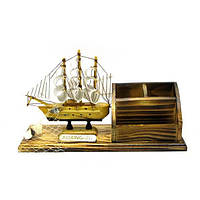 Парусник с подставкой под ручки и визитки  (25,5х8х13,5 см) , Морская тематика