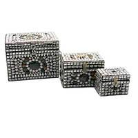 Сундуки  металлические с камнями (н-р 3 шт.)(20х17х16 см) , Шкатулки